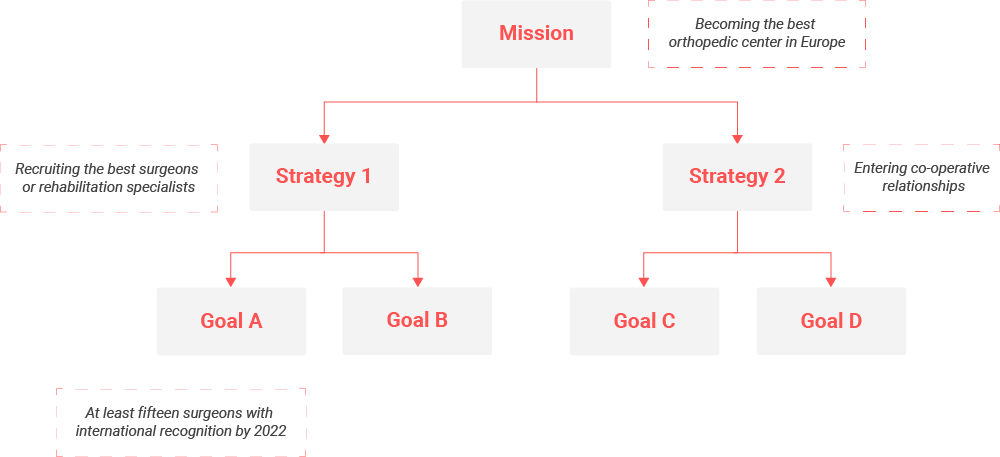 The relationship between mission, strategy and goals.