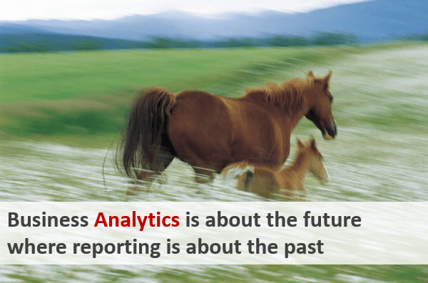 Business Analytics is about the future where reporting is about the past